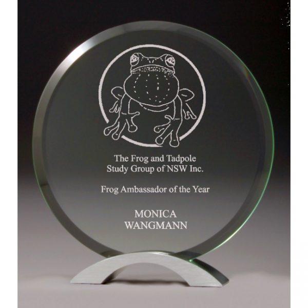 CG220 glass award on chrome base